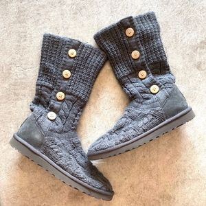 UGG Leland Cable Knit Mid Calf Winter Boots - Gray